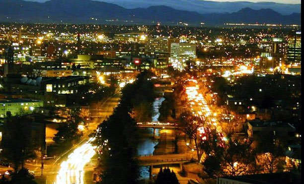 Cherry Creek in Denver by night