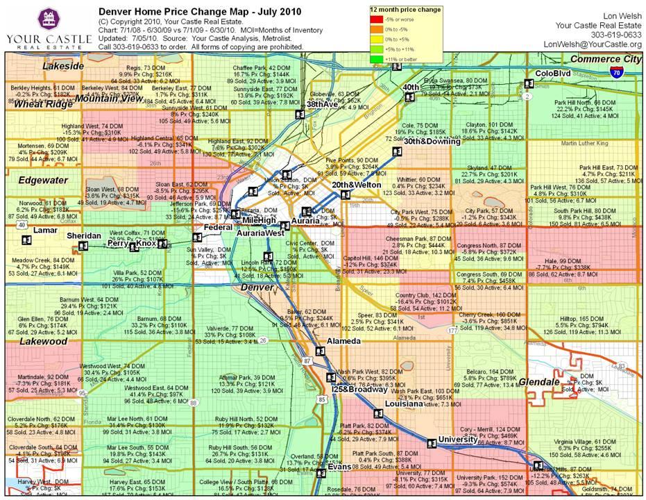 Denver Neighborhoods Map of home price appreciation