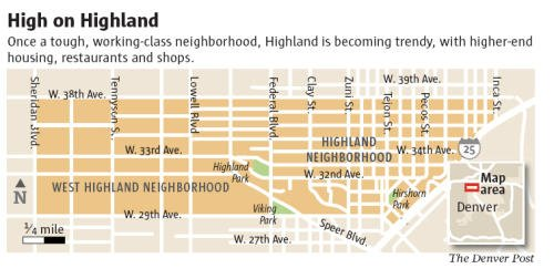 The Highlands neighborhood is located northwest of Downtown Denver.