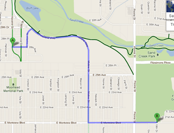 The commute from my rental home in Stapleton to Fitzsimmon's Medical Complex is 1.9 miles.