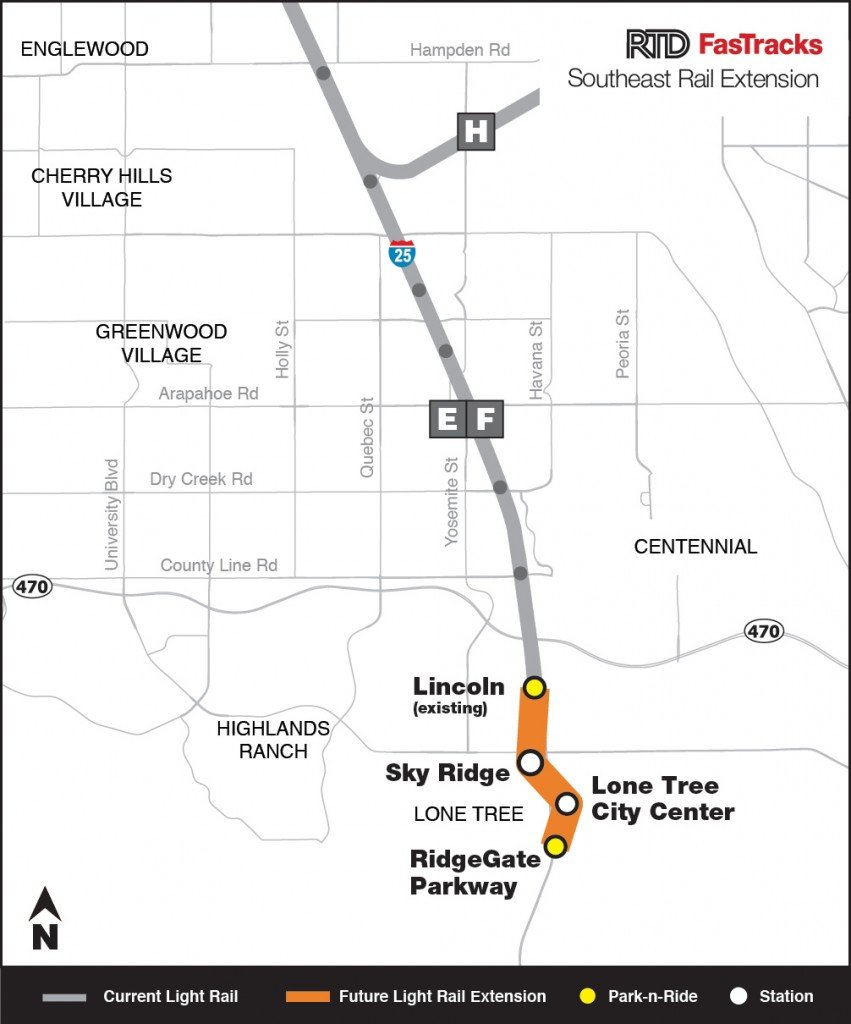 Light rail service in Lone Tree currently ends at Linclon Avenue. It will soon expand into Ridgegate.
