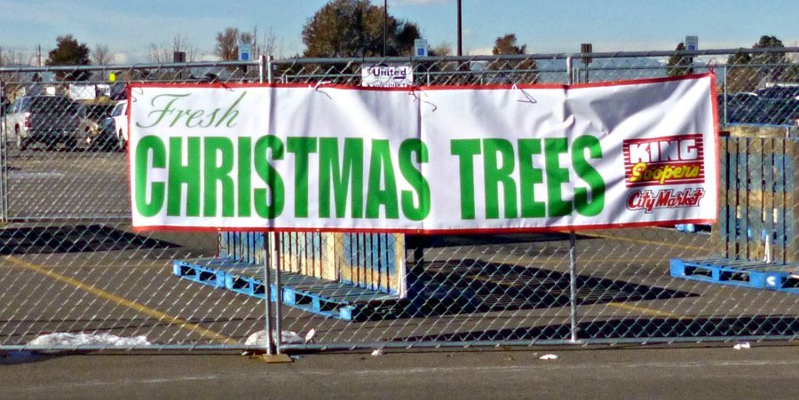 The sign for Christmas Trees is already posted at the Reunion King Soopers. The trees will be here soon.