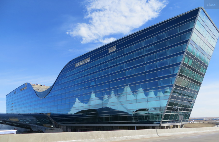 """THe new Westin Hotel at Denver International Airport is shaped like """"Pilots' Wings""""."""