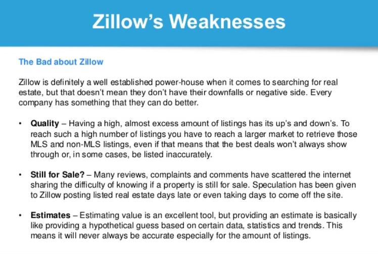 Zillow Cons