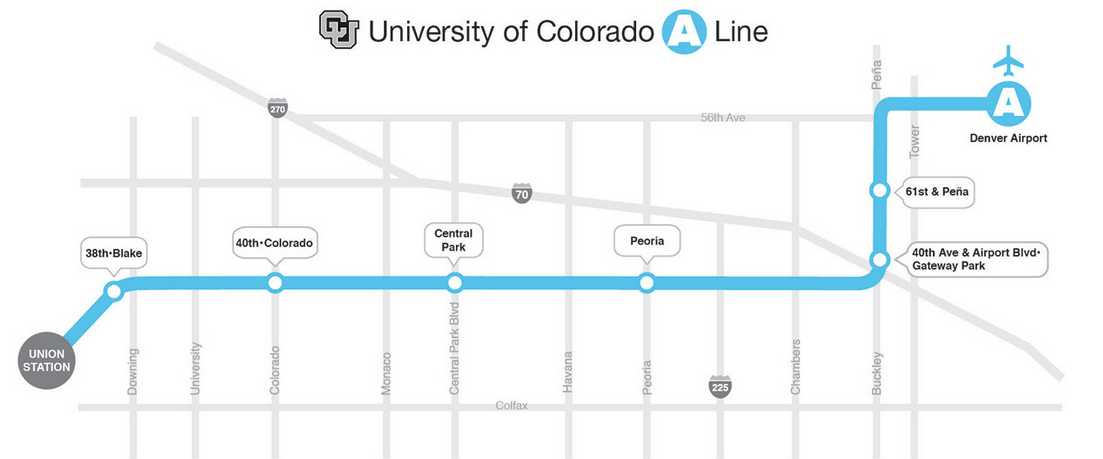 Downtown to DIA Light Rail Map
