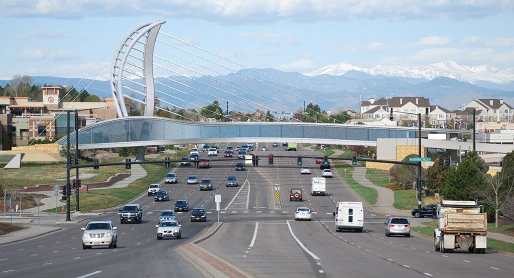 Fentress Architects, designer of the Denver International The pedistrian bridge over Linclon will connect RidgeGate with Heritage Hills and it's shopping center.