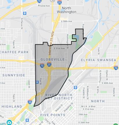 Map of Gloveville in Denver